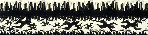 Construction Fence Proposal, City of Los Angeles, relief print 1994 by Ty Bowman