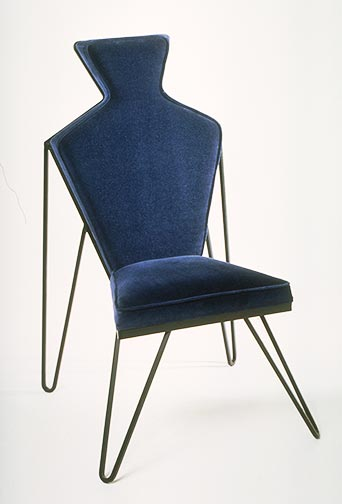 Blue Man Chair, steel & upholstery 1995 by Ty Bowman
