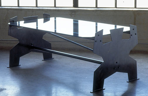 Man Dining Table, steel & glass 1995 by Ty Bowman