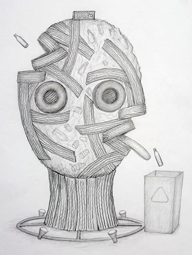 Proposed Sculpture, pencil drawing 2013 by Ty Bowman