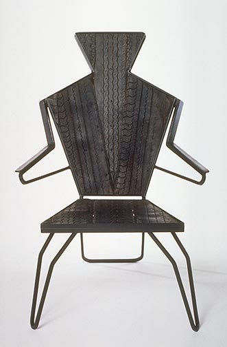 Tire Man Chair, steel & tires 1995 by Ty Bowman